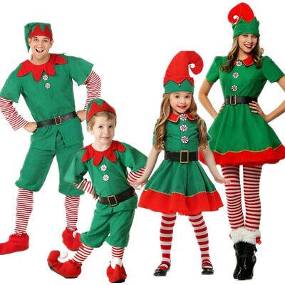 Kids Elf Costume Xmas Christmas Santa Claus Boys Girls Fancy Dress Party Outfit