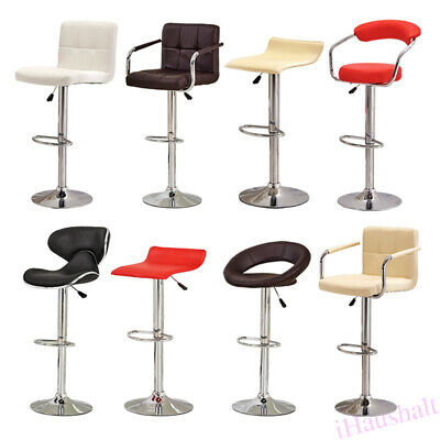 2* Bar Stool PU Faux Leather Breakfast Chair Swivel Metal Base Foot Rest Kitchen