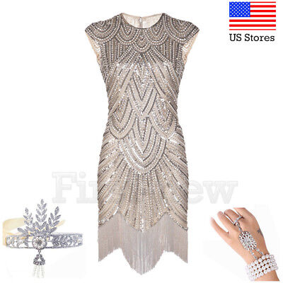 1920s Flapper Dress Great Gatsby Party Evening Sequins Fringed Dresses Prom Gown](Great Gatsby Clothes For Women)