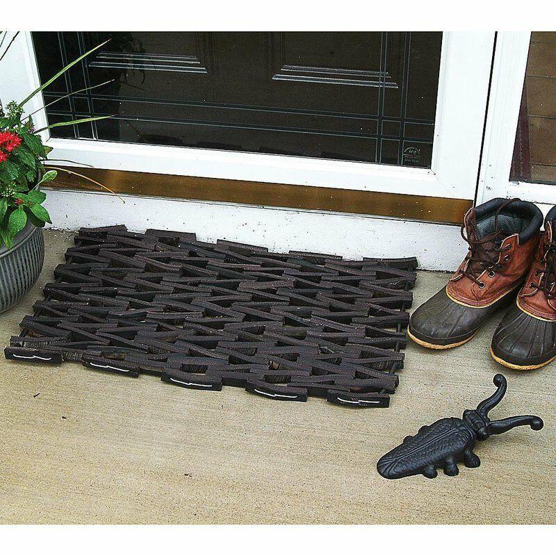 Recycled Heavy Duty Outdoor Rubber Tire Doormat 27 x 16 in