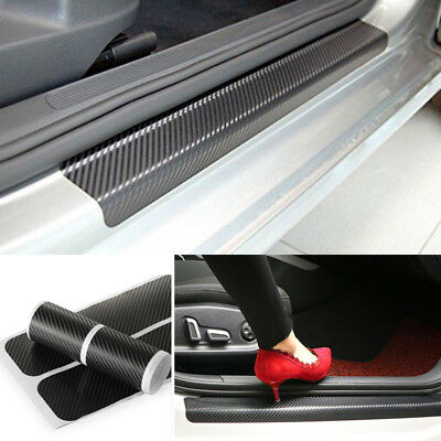 4x5D Carbon Fiber Car Scuff Plate Door Sill Sticker Panel Protector Accessories