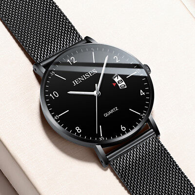Luxury Men's Analog Date Slim Mesh Stainless Steel Dress Wrist Watch Waterproof