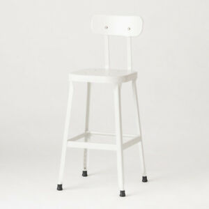 """Schoolhouse Electric Steel Utility Stool with Back 26"""" — White"""