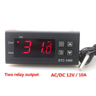 Led Digital Temperature Controller 12v 10a Stc-1000 Sensor Probe Thermostat