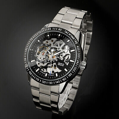 - ESS Mens Watch Automatic Black Dial Stainless Steel Self-winding Skeleton Casual