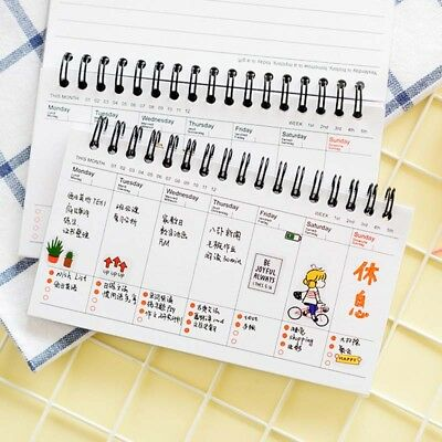 Portable Cute Calendar Schedule Coil Notebook Agenda Weekly Planner Notes 2019