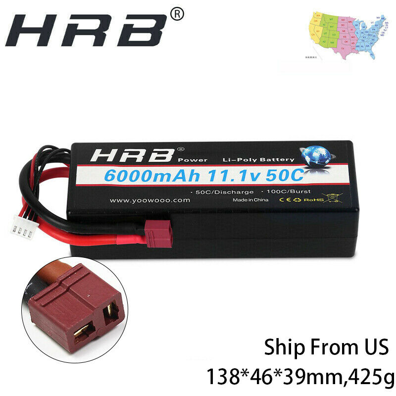 HRB 3s Lipo Battery 11.1V 50C 6000mAh Hardcase T/DEAN Plug f