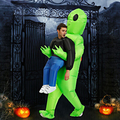 Inflatable Green Alien Costume Adults Kid Pick Up Monster Halloween Blow Up Suit