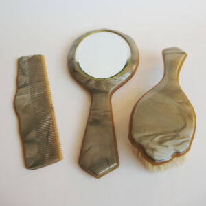 Vintage 1940s Dresser Set, Marbled Green