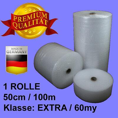 1 ROLLE 50 cm BREITE x 100 m LANG EXTRA 60 my LUFTPOLSTERFOLIE Super Angebot