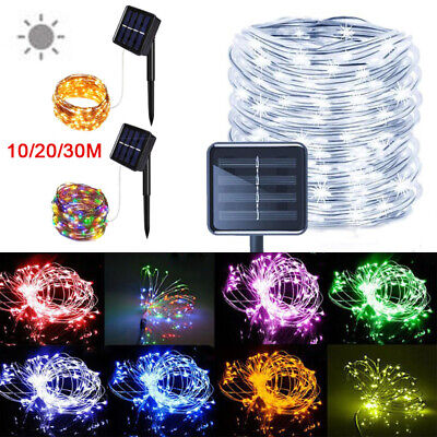 100/200 LEDs Solar Powered String Fairy Lights 10/20M Copper Wire Outdoor Garden