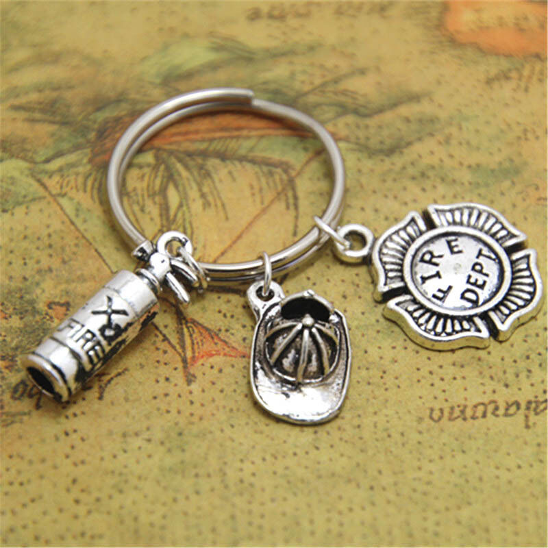 Fire Department keyring Firefighter Charm keychain Firefighter Jewelry, Fireman