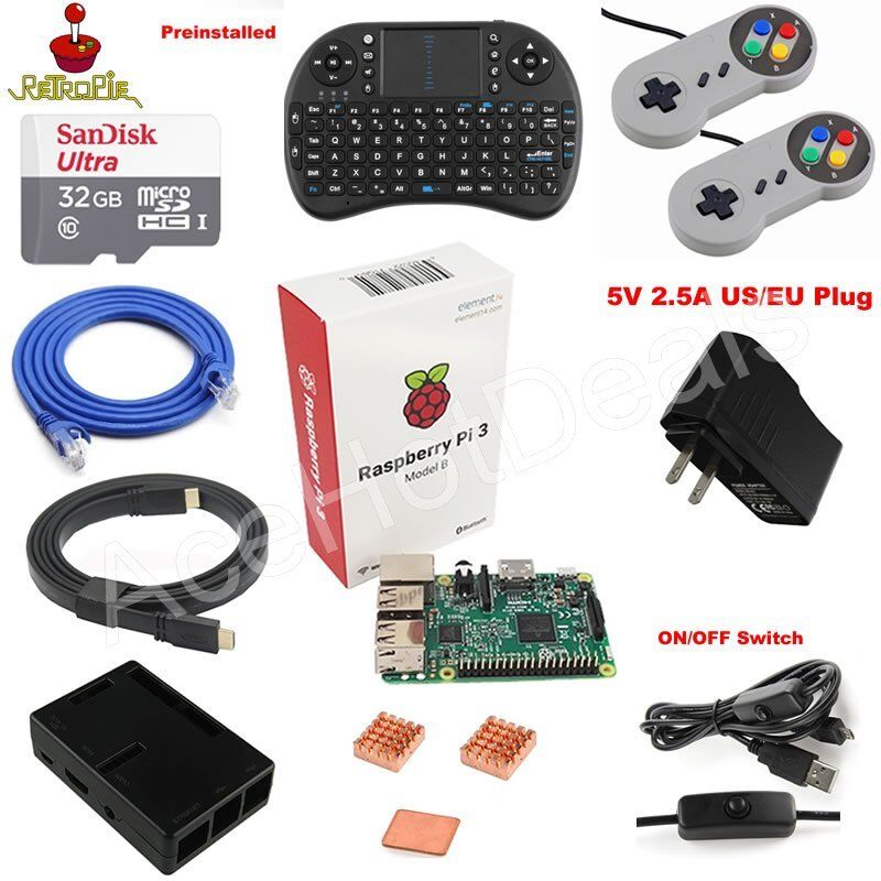 Computer Games - Raspberry Pi 3 Model B Game Console Kit w/ 32GB SD Card