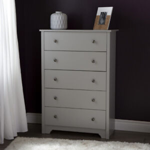Brand New 5-Drawer Chest Dresser, Soft Gray, by South Shore