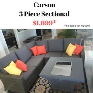 Patio Sectional - 3 Piece - Available in 2 Wicker Colours