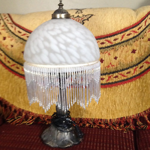 LARGER DOME GLASS AND TWO SMALL DOME GLASS WITH GLASS FRINGES