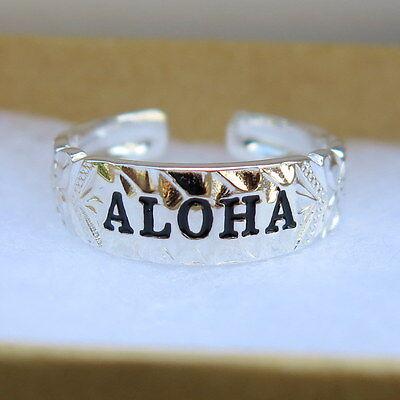 Hawaiian 925 Sterling Silver ALOHA Scrolling Toe Ring Black Enamel TR1106