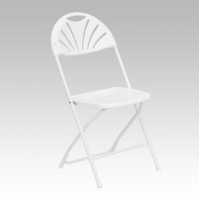100 Pack 650lbs Capacity Commercial Grade Fan Back White Plastic Folding Chair