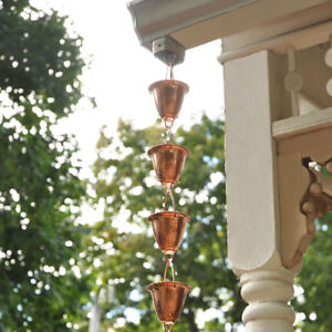 8-Foot Copper Rain Chain with Adjustable Length by AcuRite