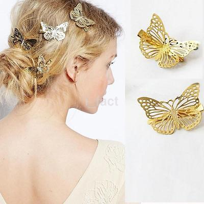 2pcs Fashion Women Girls Gold Butterfly Barrette Hair Clip Hairpin Accessories