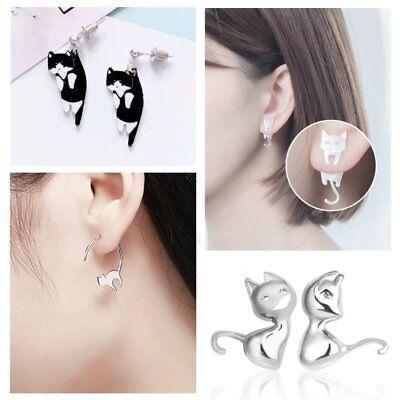 Fashion Cartoon Cat Animal Lovely Dangle Hoop Drop Earrings Women Jewelry Gift