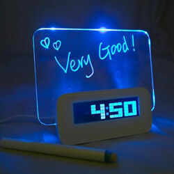 LED Light Fluorescent Message Board Digital USB HUB Wall Alarm Clock White Décor