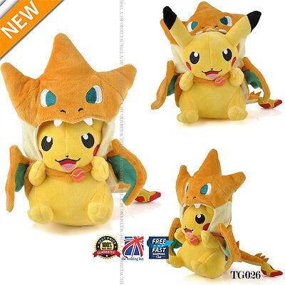 """Pokemon Pikachu With Charizard hat Plush Soft Toy Stuffed Animal Doll 9"""" TG026"""