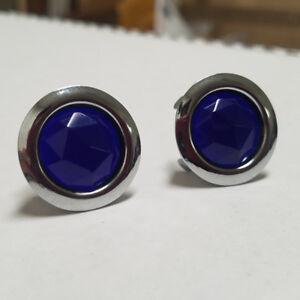 Blue Dots - Diamond Cut Glass w/ Chrome Ring - Set of 2 - Tail Light Hot Rod