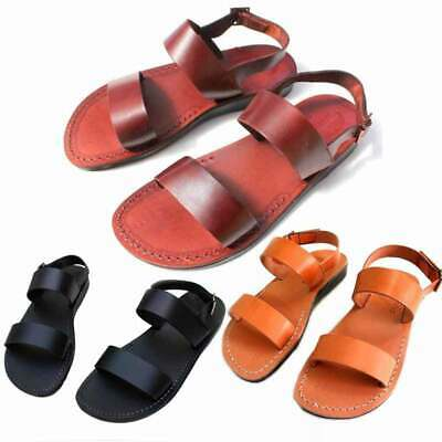 Brown Unisex Flip Flops - Unisex Strap Flip-Flops  Buckle Leather Sandals Brown Black Caramel   Handmade