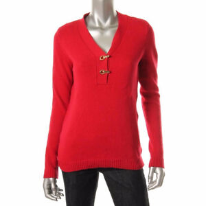 Red knit v-neck sweater with gold hook closures - Size Small