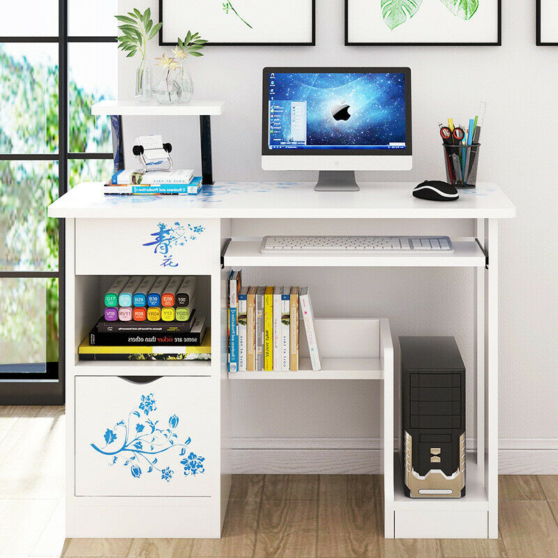 PC Computer Desk Writing Study Table Office With 2 Drawers Corner Study Home New