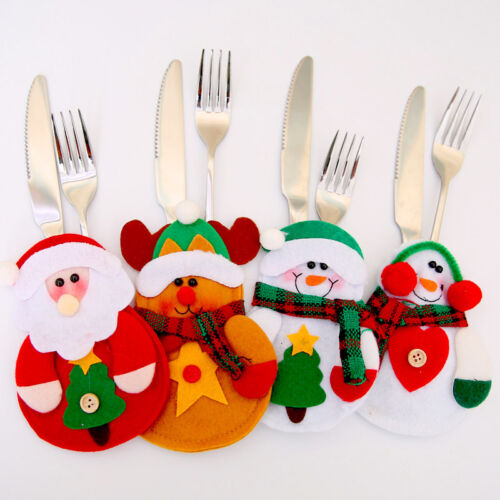 4Pc Table Cutlery Decorations Santa Cutlery Holder Mat Xmas Cover for Knife Fork