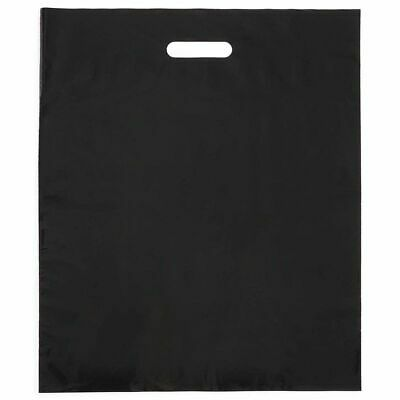 100 Thick Plastic Black Merchandise Shopping Bags With Handle For Retail 18x15
