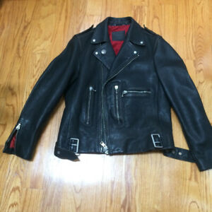 ALL SAINTS  - LEATHER COWHIDE BIKER JACKET - LARGE - MEN - BLACK