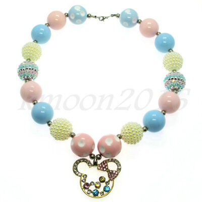 Blue Pink Minnie Chunky Beads Bubblegum for Kids Christmas Gift Necklace Jewelry (Bubblegum Necklace Beads)
