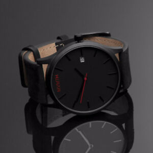 Black MVMT Watch - leather strap