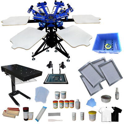 6 Color 6 Station Screen Printing Press With Flash Dryer Diy Materials Kit