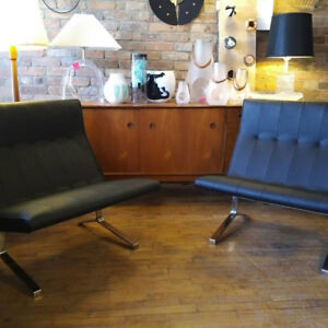 Rare mid century lounge chairs leather chrome modern eames knoll