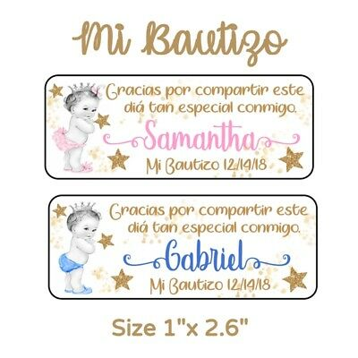 50 Pc Mi Bautizo Baptism Stickers for Party Favors & Goodie Bags - Goodie Bag
