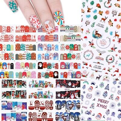 (Christmas Tree Deer 3D Nail Art Stickers Snowflakes Water Decal Transfer Sticker)