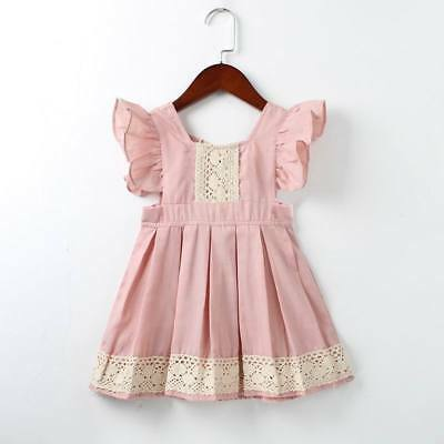 Girls New Pink Lace Ruffle Tunic Dress 3,4,5,6 - Girls Tunic Dresses