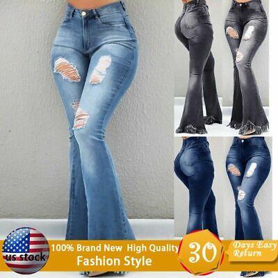 Flared Leg Jeans Pants - Women Fashion Jeans Ladies Ripped Wide Leg Denim Pants Flare Jeans Bell Bottoms