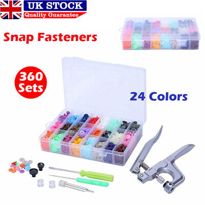 24 Colours 360 Sets KAM Snaps Snap Starter Plastic Poppers Fasteners 1 Plier Kit