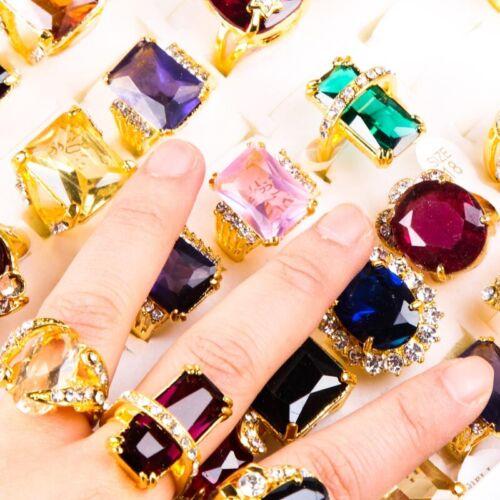 10pcs Nature gemstone Women Charm Gold CZ zircon wedding band Rings party Gifts