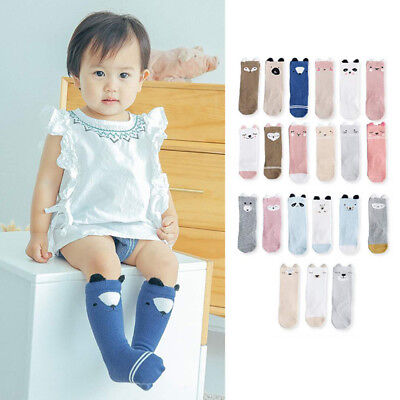 3 Pairs Girl Kids Knee High Socks Stocking Cotton Baby Toddler Leg Warm Leggings