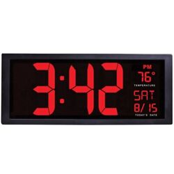 Large Screen Electronic Wall Clock LED Digital Calendar Clock with Thermometer