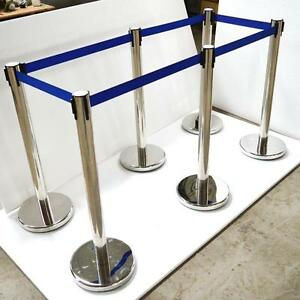 6 Stanchion Posts Queue Pole Retractable Belt Crowd Control 170519