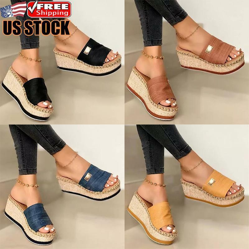 Womens Wedge Heel Slip On Sandals Ladies Comfy Platform Sliders Mules Shoes Size