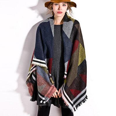Women Winter Plaids Patchwork Cashmere Pashmina Large Shawl Blanket Scarf Poncho