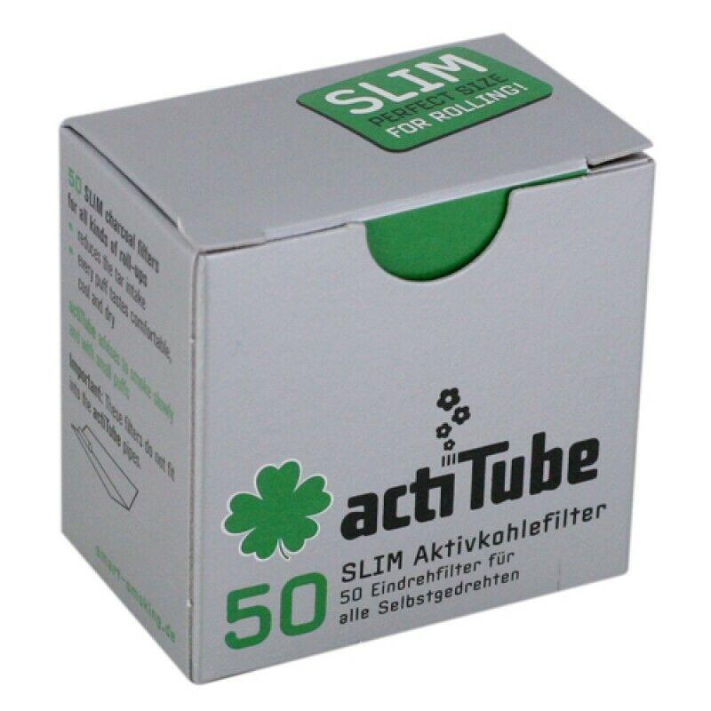 100(2x50) actiTube Slim 7mmØ Aktivkohlefilter für Pfeifen und Selbstgedrehte NEU
